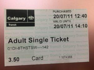 カルガリーの電車の切符